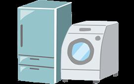 冷蔵庫、洗濯機、ヒーター